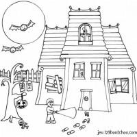Coloriage et dessins gratuit Halloween maison hantéee à imprimer