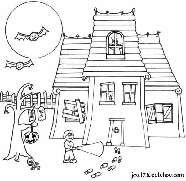 Coloriage et dessins gratuits Halloween maison hantéee à imprimer