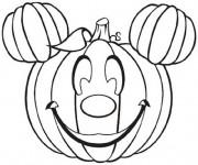 Coloriage et dessins gratuit Halloween Mickey en citrouille à imprimer