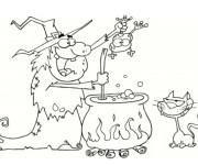 Coloriage Halloween Sorcière, crapaud et chat noir