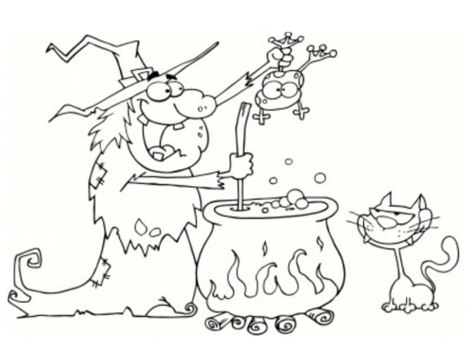 Coloriage et dessins gratuits Halloween Sorcière, crapaud et chat noir à imprimer