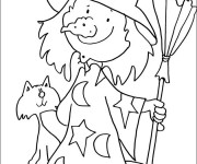 Coloriage et dessins gratuit Halloween sorcière drôle à imprimer