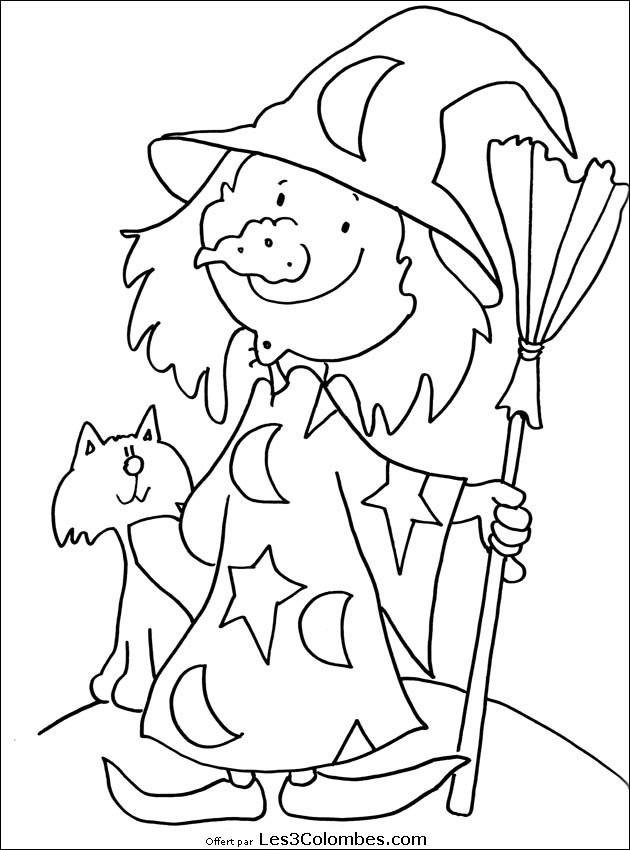 Coloriage et dessins gratuits Halloween sorcière drôle à imprimer
