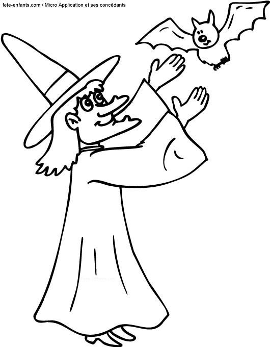 Coloriage et dessins gratuits Halloween Sorcière et Chauve Souris à imprimer