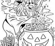 Coloriage et dessins gratuit Halloween Sorcière et marmitte à imprimer