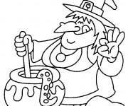 Coloriage et dessins gratuit Halloween sorcière et potion magique à imprimer