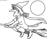 Coloriage et dessins gratuit Halloween sorcière sur son balais à imprimer