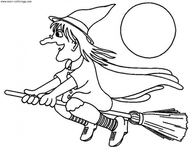 Coloriage et dessins gratuits Halloween sorcière sur son balais à imprimer