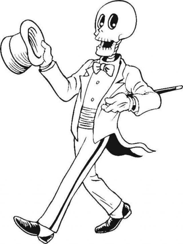 Coloriage et dessins gratuits Halloween Squelette avec classe à imprimer