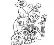 Coloriage et dessins gratuit Halloween Squelette et chat noir à imprimer