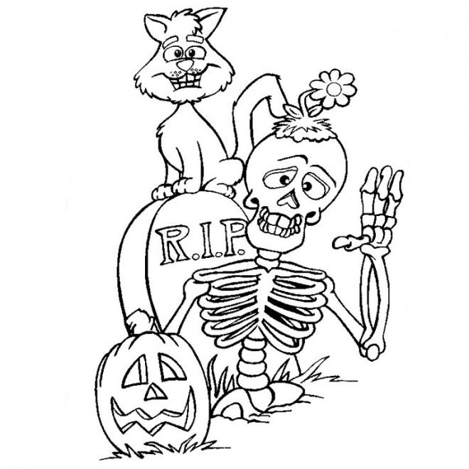 Coloriage Halloween Squelette Et Chat Noir Dessin Gratuit à Imprimer