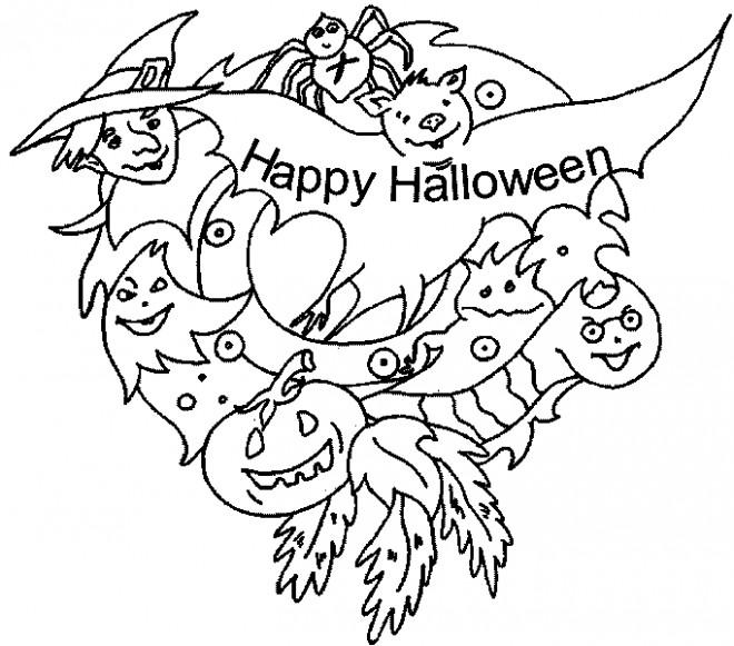 Coloriage Illustration Joyeuse Halloween dessin gratuit à imprimer