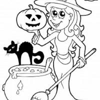 Coloriage et dessins gratuit La gentille sorcière d'Halloween à imprimer