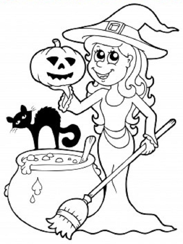 Coloriage la gentille sorci re d 39 halloween - Coloriages d halloween ...