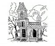 Coloriage et dessins gratuit Maison d'Halloween à imprimer