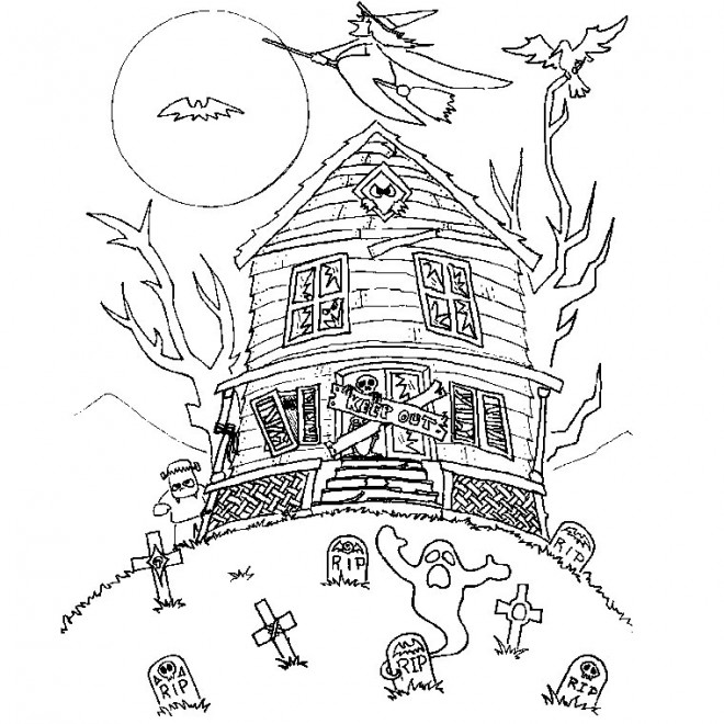 Coloriage maison hant e 2 dessin gratuit imprimer - Dessin de maison hantee ...
