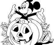 Coloriage Mickey Mouse et Citrouille de Halloween