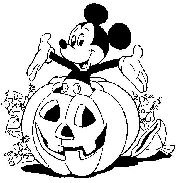 Coloriage et dessins gratuits Mickey Mouse et Citrouille de Halloween à imprimer