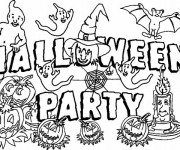 Coloriage et dessins gratuit Party Halloween à imprimer
