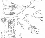 Coloriage Paysage Halloween