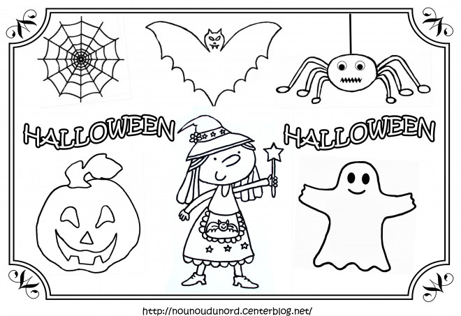 coloriage personnages halloween facile dessin gratuit imprimer. Black Bedroom Furniture Sets. Home Design Ideas