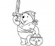 Coloriage Winnie Halloween dessin animé