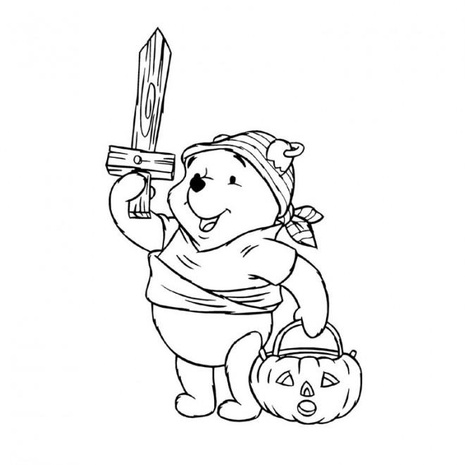 Coloriage et dessins gratuits Winnie Halloween dessin animé à imprimer
