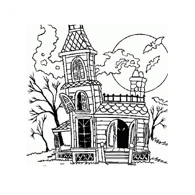 Coloriage maison d 39 halloween dessin gratuit imprimer - Dessin de maison hantee ...