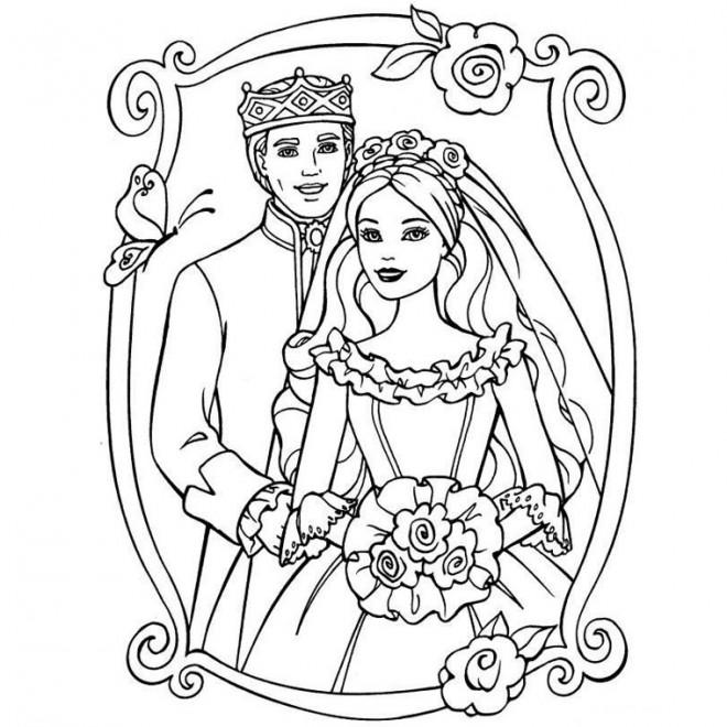 Coloriage Princesse Mariage.Coloriage Mariage De Princesse Barbie Dessin Gratuit A Imprimer