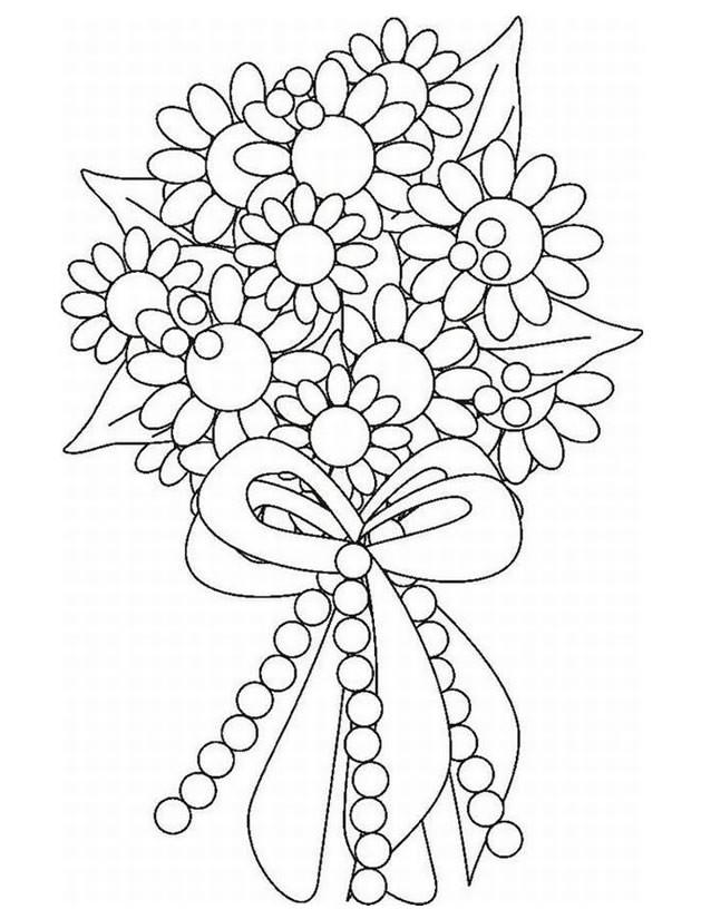 Coloriage Bouquet De Fleurs Pou Mariage Dessin Gratuit à