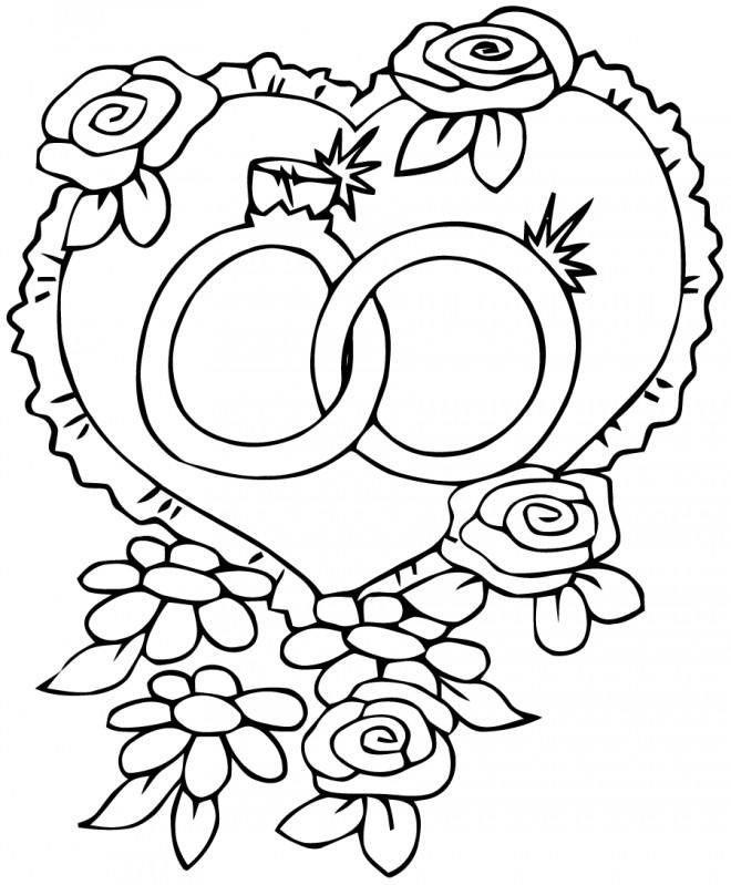 Coloriage coeurs et alliances de mariage dessin gratuit imprimer - Coloriage mariage a imprimer ...