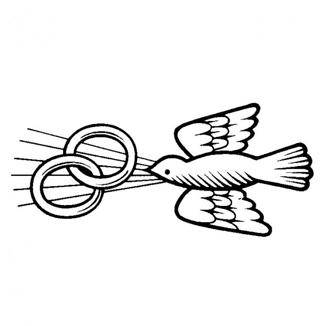 Coloriage colombe et alliances de mariage dessin gratuit - Colombe coloriage ...