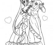 Coloriage Couple en dansant Mariage