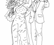 Coloriage Couple marié couleur