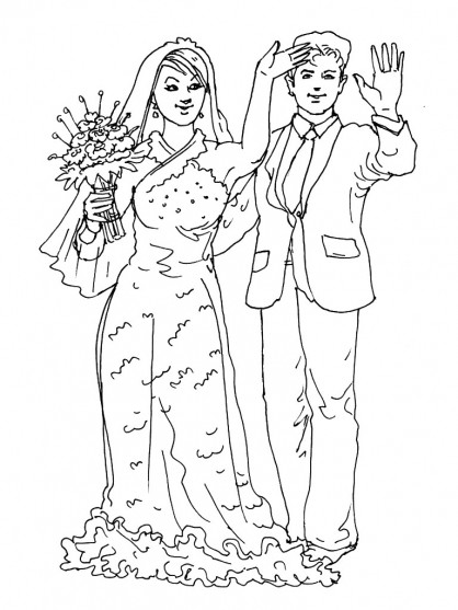 Coloriage couple mari couleur dessin gratuit imprimer - Coloriage de mariee ...
