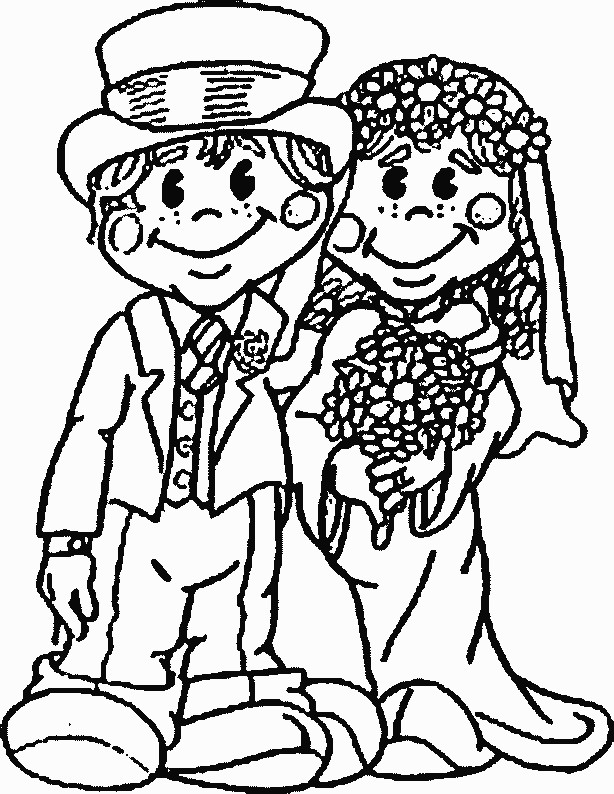 Coloriage et dessins gratuits Couple marié tout souriant à imprimer