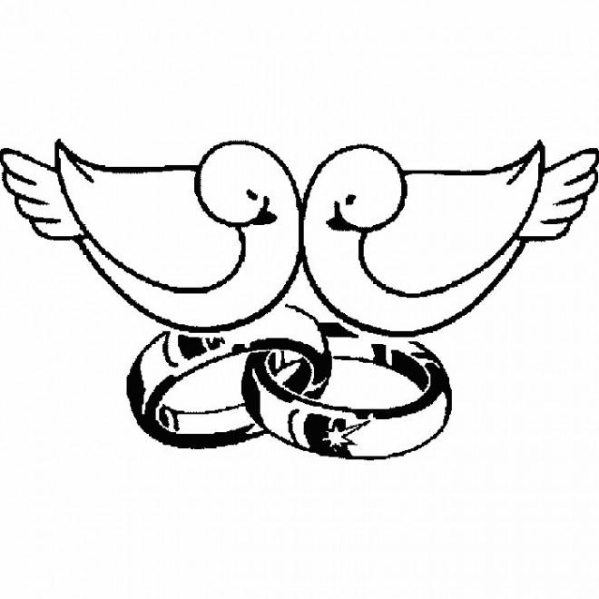 coloriage deux colombes sur alliance de mariage dessin. Black Bedroom Furniture Sets. Home Design Ideas