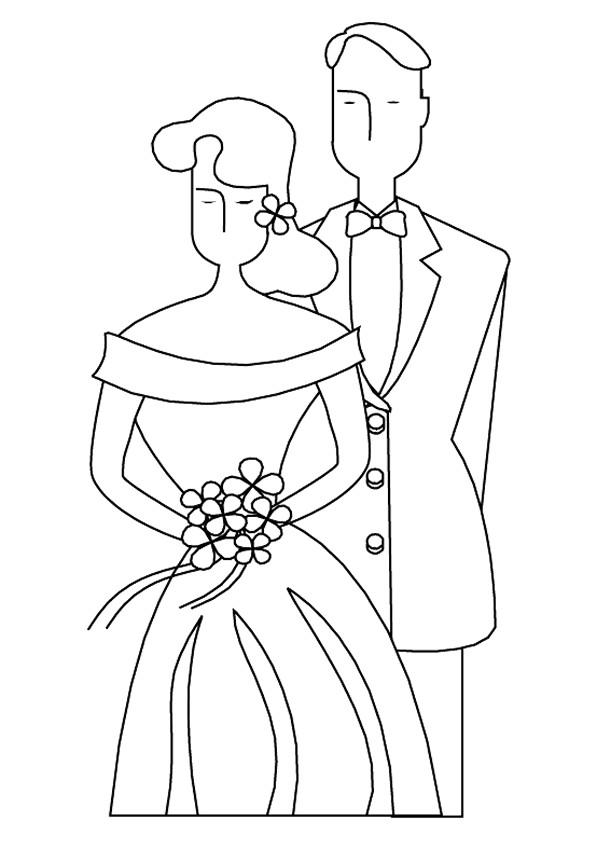 Coloriage époux Et épouse Facile Dessin Gratuit à Imprimer