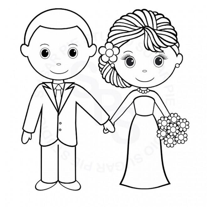 Coloriage poux et pouse stylis - Dessin voiture mariage ...