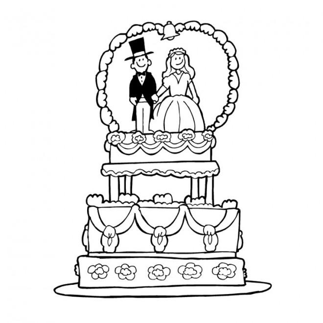Coloriage et dessins gratuits Gâteau de Mariage à imprimer