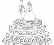 Coloriage Gâteau de Mariage à décorer