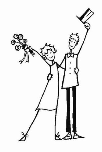 Coloriage et dessins gratuits Homme et Femme à leur Mariage à imprimer