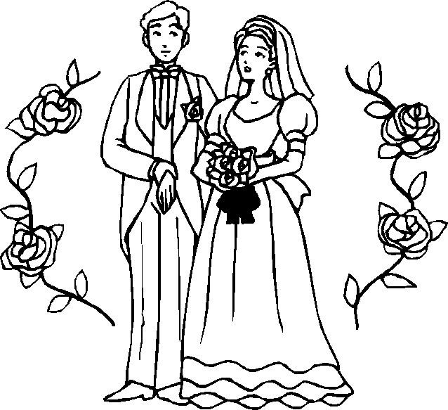 Coloriage et dessins gratuits Image de Mariage entourée avec des fleurs à imprimer