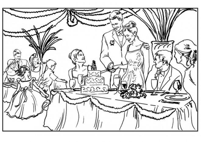 Coloriage et dessins gratuits La cérémonie de mariage à imprimer