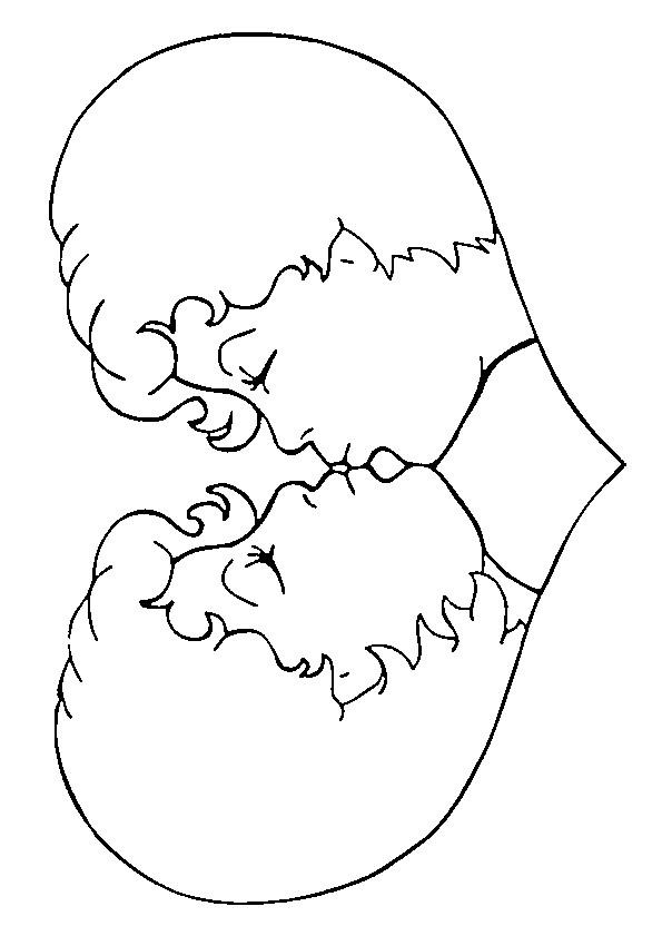 Coloriage et dessins gratuits Le couple s'embrasse à imprimer