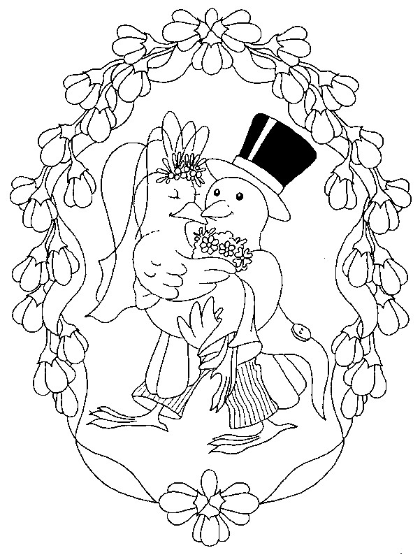 Coloriage et dessins gratuits Le Mariage de Colombes à imprimer