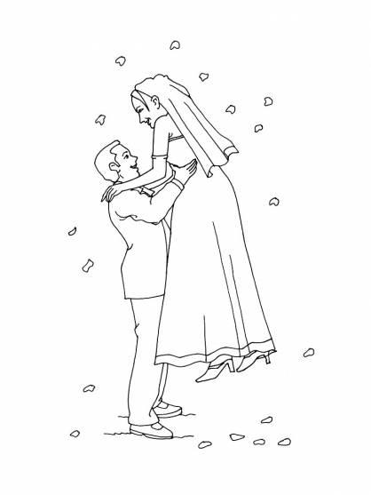 Coloriage et dessins gratuits Les amoureux se marient à imprimer