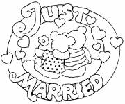 Coloriage Logo Just married