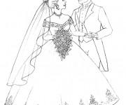 Coloriage Mariage et Robe de mariée