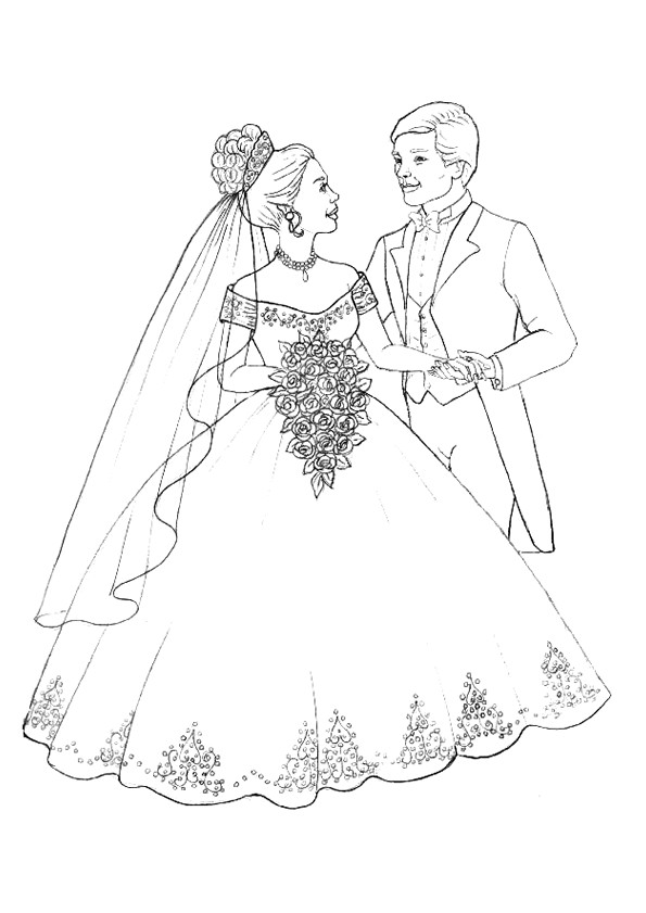 Coloriage Mariage Et Robe De Mariee Dessin Gratuit A Imprimer